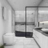 3d rendering white tile modern bathroom